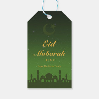 Eid Celebration Gift Tag with Gold Islamic Pattern