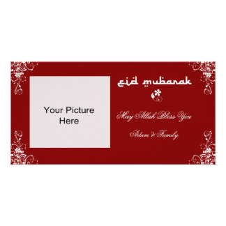 Eid Mubarak Burgundy White Swirl Photo Cards