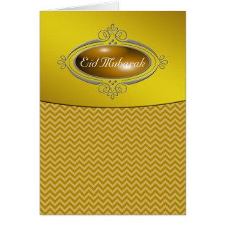 Eid Mubarak Gold Chevron Greeting Card