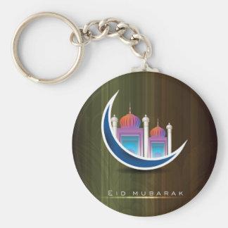 Eid mubarak basic round button key ring