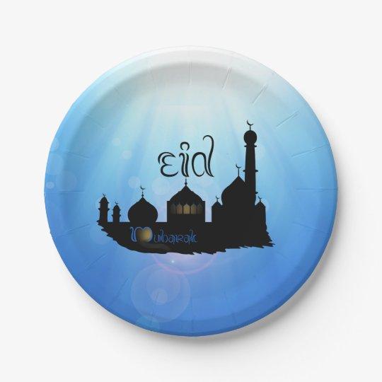 Eid Mubarak Mosque with Sunrays - Paper Plate