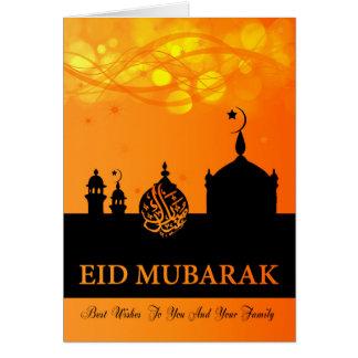 Eid Mubarak Orange Blends With Silhouette Mosque Greeting Card