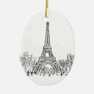 Eifel Tower Paris Ceramic Oval Decoration