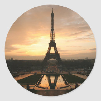 eiffel dawn classic round sticker