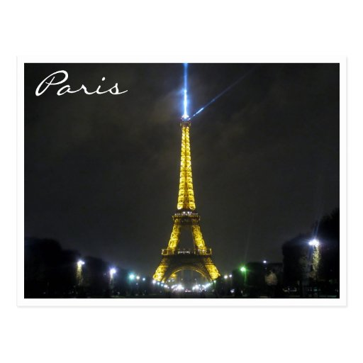 eiffel night lights postcards