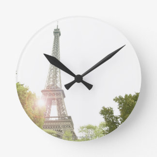 Eiffel Tower 2 Round Clock