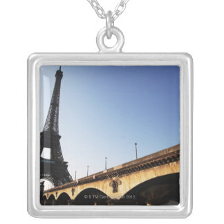 eiffel tower 2 silver plated necklace
