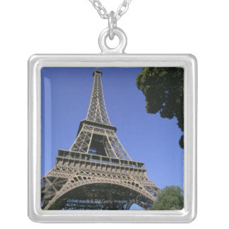 eiffel tower 5 silver plated necklace