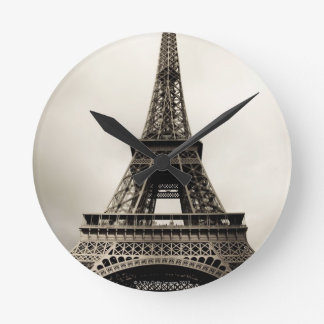 Eiffel Tower 8 Round Clock