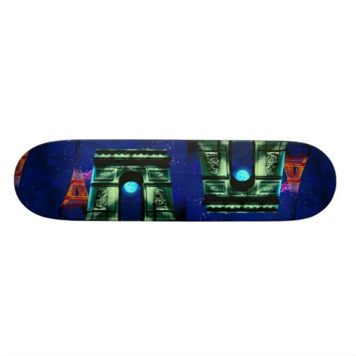 Eiffel Tower and Arc de Triomphe with moon Skate Board Decks