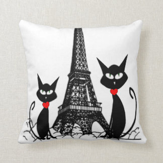 Eiffel Tower and Black Cats Pillow