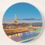 Eiffel Tower and Pont Alexandre III at Night Beverage Coasters