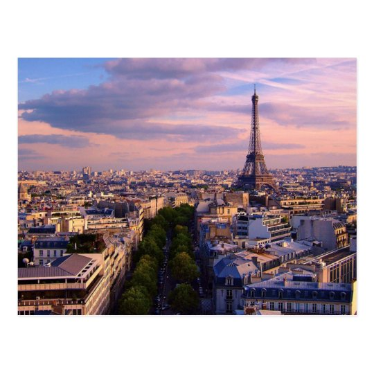Eiffel Tower and purple Cloudscape Postcard