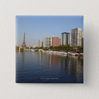 EIFFEL tower and SEINE river 15 Cm Square Badge