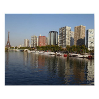 EIFFEL tower and SEINE river Poster