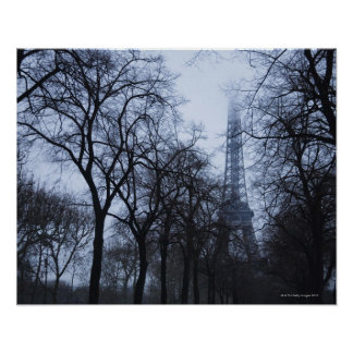 Eiffel tower and trees, Paris, France Poster