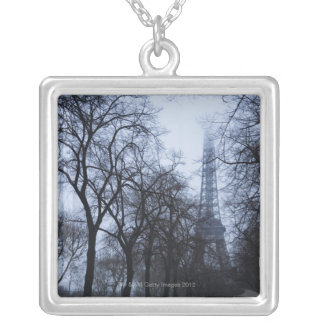 Eiffel tower and trees, Paris, France Silver Plated Necklace