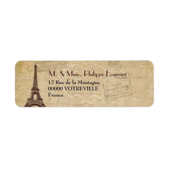 Eiffel Tower Antique Parisian Return Address Label