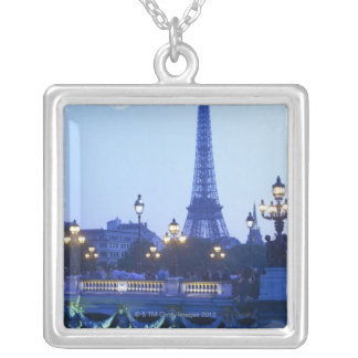 Eiffel tower at dusk with moonrise silver plated necklace