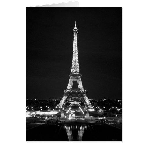 Eiffel Tower at Night - B/W Greeting Card
