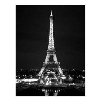 Eiffel Tower at Night - B W Postcard