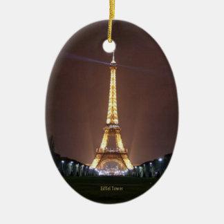 Eiffel Tower at Night Ceramic Oval Decoration