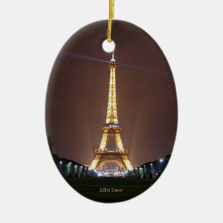 Eiffel Tower at Night Ceramic Oval Decoration