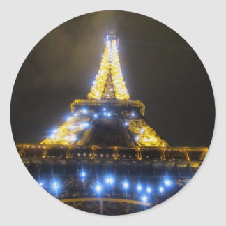Eiffel Tower at Night Classic Round Sticker
