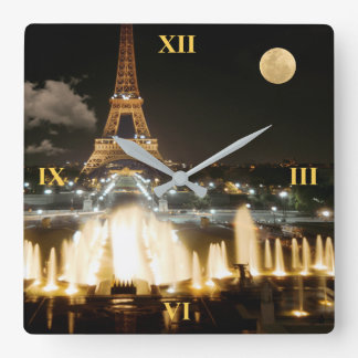 Eiffel Tower at Night Clock