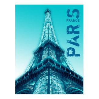Eiffel Tower at night Paris France Postcard Blue