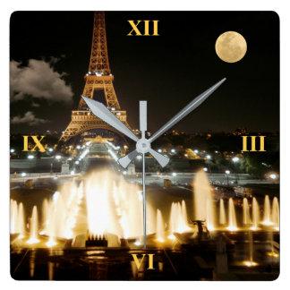 Eiffel Tower at Night Square Wall Clock
