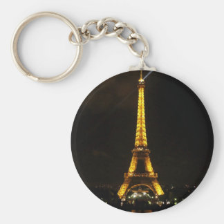 Eiffel Tower - At night, yellow light and beam Basic Round Button Key Ring