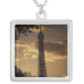 Eiffel Tower at sunset, Paris, France Silver Plated Necklace