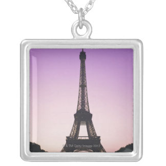 Eiffel Tower at Sunset Silver Plated Necklace
