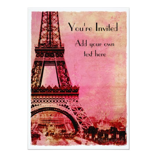 Eiffel Tower at Sunset Vintage Style Card