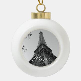 Eiffel Tower b/w Ceramic Ball Christmas Ornament