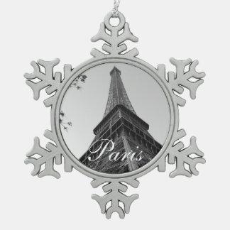 Eiffel Tower b/w Snowflake Pewter Christmas Ornament