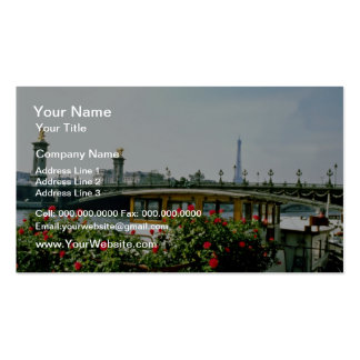 Eiffel Tower, barges, Paris, France  flowers Pack Of Standard Business Cards