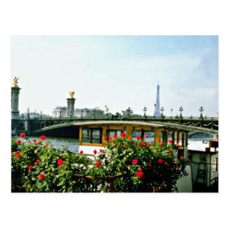 Eiffel Tower, barges, Paris, France  flowers Postcard
