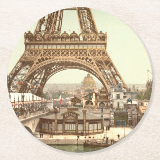 Eiffel Tower Base, Paris, France Round Paper Coaster