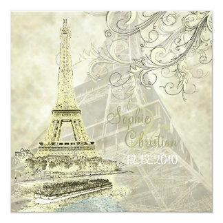 "Eiffel Tower+bateau mouche+swirls wedding invites 5.25"" Square Invitation Card"
