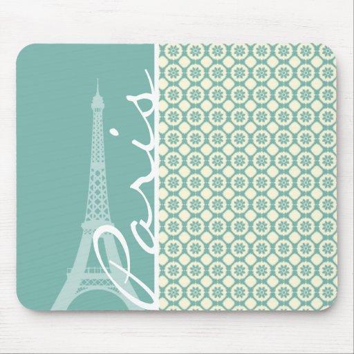 Eiffel Tower; Blue-Green & Cream Paris Mousepads