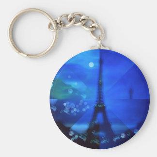 Eiffel Tower Blue Illusion Key Chains