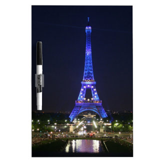 Eiffel Tower (Blue Lights) Dry Erase Board