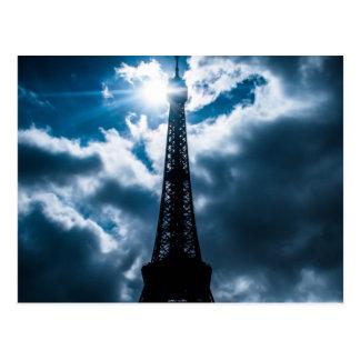 Eiffel Tower Blue Night Postcard
