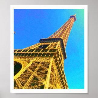 Eiffel Tower Blue & Orange Poster