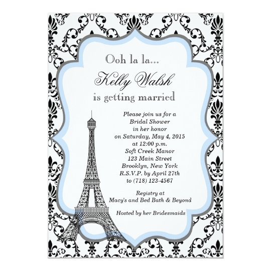 Eiffel Tower Blue Paris Bridal Shower Invitation