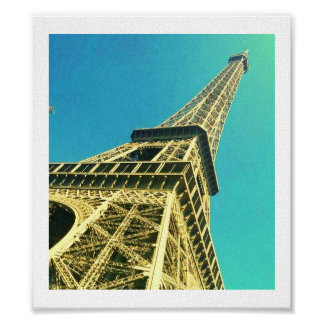 Eiffel Tower Blue & Yellow Poster