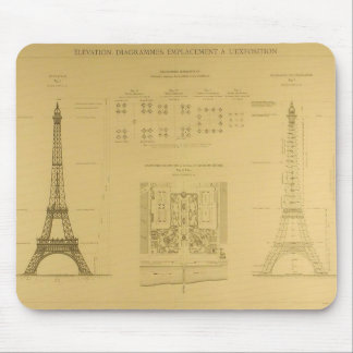 Eiffel Tower Blueprints Mouse Mat