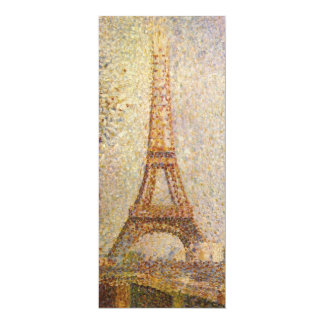 Eiffel Tower by Georges Seurat, Vintage Fine Art 10 Cm X 24 Cm Invitation Card